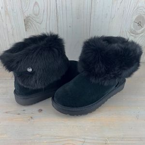 UGG VALENTINA BLACK FUR CRYSTAL BOTTIE